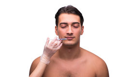 The man undergoing plastic surgery isolated on white Royalty Free Stock Photos