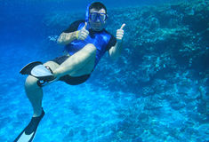 Man underwater. In Red Sea Royalty Free Stock Photos