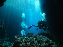 Man Underwater Photographer Scuba Diving Cave. In Mediterranean Sea Stock Images