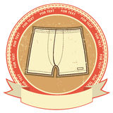 Man underwear label set on grunge paper. Royalty Free Stock Image