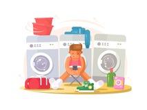 Man in underwear waiting washing Stock Photo