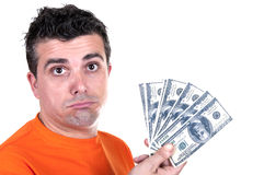 Man unhappy with $ 100 bills Stock Image