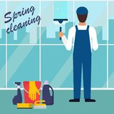 Man in uniform cleaning window with glass scraper. City view outside the window, skyscrapers. Spring cleaning concept. Bucket, bru royalty free illustration
