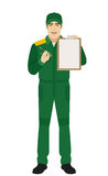 Man in uniform giving pen for your signature on clipboard Stock Photo