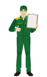 Man in uniform holding clipboard and shows thumb up Royalty Free Stock Image