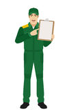 Man in uniform pointing the finger to clipboard Royalty Free Stock Image