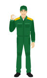 Man in uniform shows the business card Royalty Free Stock Photography