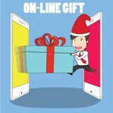 Man in uniform take out from a smart phone and gift box another. Phone. Vector illustration flat style Royalty Free Stock Photo