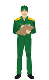 Man in uniform writes on the clipboard closeup Royalty Free Stock Images