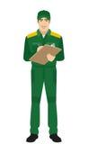 Man in uniform writes on the clipboard closeup Stock Photo