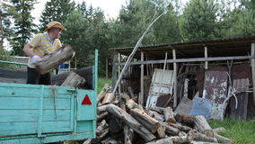 Man unload wood woodshed stock video