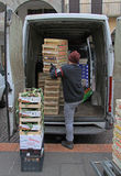 Man is unloading boxes with fruits in Padua, Italy Stock Photos