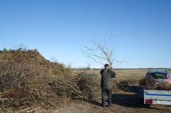 Man unloading a trailer Stock Image