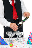 Man unlocks champagne Royalty Free Stock Photography