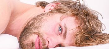 Man unshaven bearded face sleep relax or just wake up. Simple tips to improve your sleep. Guy bearded macho relax in royalty free stock photos