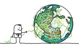 Man untangling the earth Stock Photo
