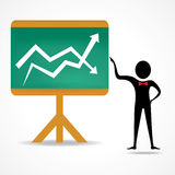 Man with up and down business graph. Vector illustration Royalty Free Stock Photos