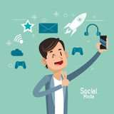 Man up hand cellphone social media Royalty Free Stock Images