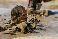 Man up to his face in mud Stock Image