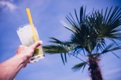 Man uppehällen för ` s mojitococtailexponeringsglaset på den blåa himlen och gömma i handflatan t Royaltyfri Bild