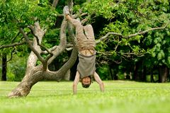 Man upside-down in park Royalty Free Stock Photography