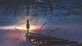 Man in the upside down world. Surreal scenery of upside down world with a man on the old bridge looking at sunset light in the sea above the sky, digital art stock illustration