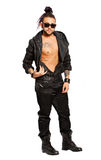 Man urban rock street style. On white background. Man urban street style. On white background. Young man with rock look. Tattoos on the body and sunglasses Stock Photo