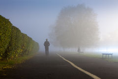 Man at urbanized path during misty weather Royalty Free Stock Images
