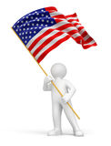 Man and USA flag (clipping path included) Royalty Free Stock Image
