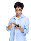 Man use cellphone Stock Photography