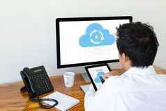 Man use cloud technology on tablet and computer Royalty Free Stock Photography