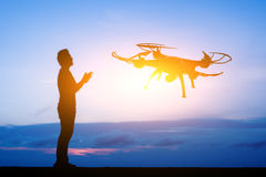 Man use a drone stock image