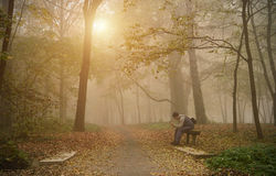 Man use his phone in the foggy forest Royalty Free Stock Images