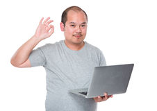 Man use of laptop computer and ok sign gesture Stock Photography