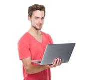 Man use of laptop computer Royalty Free Stock Photos