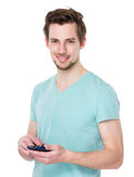 Man use of mobile phone Royalty Free Stock Photography