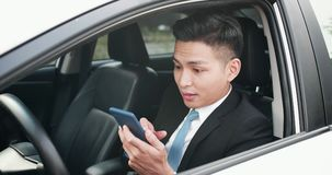 Man use phone in car stock photos