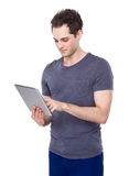 Man use of tablet Royalty Free Stock Photo