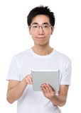 Man use of tablet pc Stock Photos