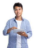 Man use of tablet pc Stock Photo
