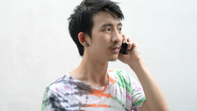 Man use and talk Cell Phone Stock Images