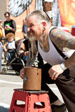 Man Uses Eyelids To Lift Bricks In Atlanta Freak Show Royalty Free Stock Photography