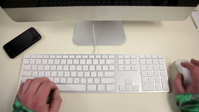 A man uses a keyboard stock footage