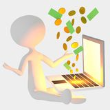 Man uses laptop for earning money. Concept of earning money in internet, winning in lottery, success. Working online Royalty Free Stock Images