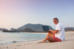 Man uses laptop remotely Royalty Free Stock Photography