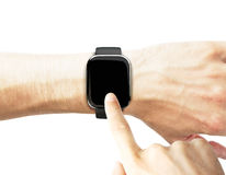 Man uses a smart watch Royalty Free Stock Photography