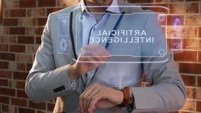 Man uses smartwatch hologram Artificial Intelligence