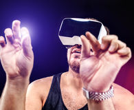 Man uses Virtual Realitiy VR head-mounted display Royalty Free Stock Photo