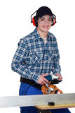 Man using angle grinder Stock Image