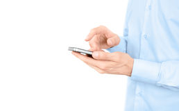 Man using apple iphone with copy space isolated Stock Images
